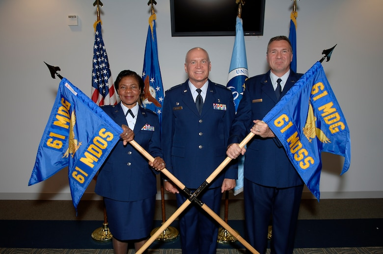 The 61st Medical Operations Squadron and the 61st Medical Support Squadron became the two newest medical squadrons at Los Angeles Air Force Base during an activation ceremony held in the Gordon Conference Center, Sept. 12.  Pcitured from left to right are Lt. Col. Bernadette Anderson, 61st Medical Operations Squadron commander; Col. Brian Deckert,  61st Medical Group commander; and Lt. Col. K. David Huth , 61st Medical Support Squadron commander.
