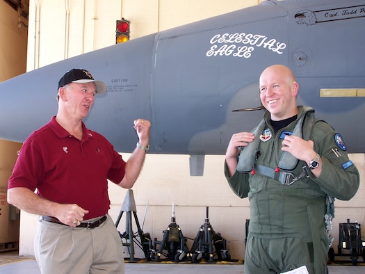 Retired Maj. Gen. Doug Pearson (left) and Capt. Todd Pearson (right), 390th Fighter Squadron pilot from Mountain Home Air Force Base, Idaho, joke around before Captain Pearson took off on the Celestial Eagle remembrance flight Sept. 13 at Homestead Air Reserve Base. General Pearson flew the exact same F-15, now assigned to the Florida Air National Guard 125th Fighter Wing, exactly 22 years prior while accomplishing the only successful satellite kill by an aircraft launched missile in history. (U.S. Air Force photo/Senior Airman Erik Hofmeyer)