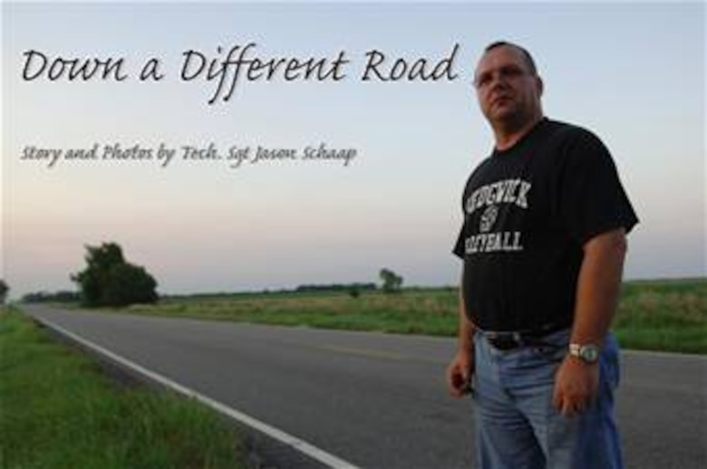 Shelby Gobel stands on a country road a few miles north of his home in Sedgwick, Kan.  His life was forever changed when he had a motorcycle accident at the same location one year prior. (Air Force Photo/Tech. Sgt. Jason Schaap)