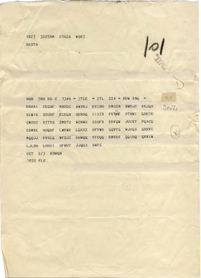 A typical Enigma intercept from the Bletchley Park operation in England. These messages were transmitted in Morse code as groups of five letters, which were easily intercepted -- but were impossible to understand without sophisticated decryption. (Photo courtesy Dr. David Hamer)