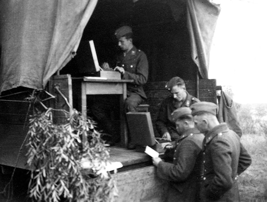 These Luftwaffe personnel are using two Enigma machines, probably to encrypt and decrypt at once. (Photo courtesy of Helge Fykse, Norway)