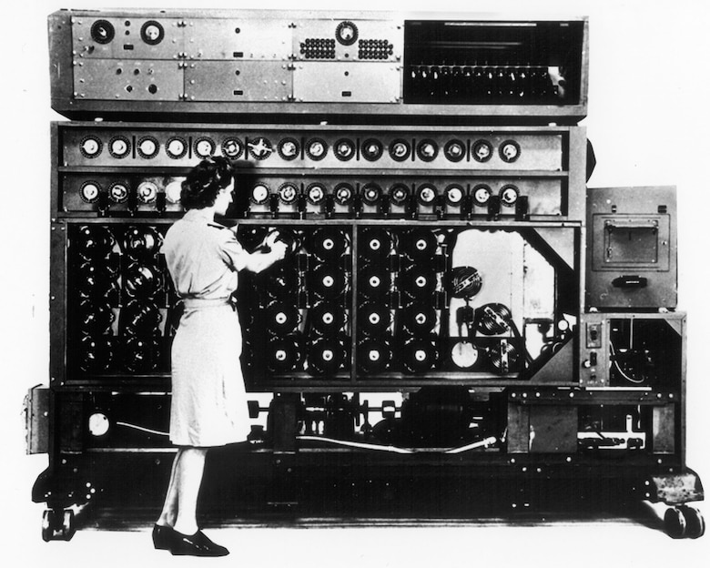 "An Enigma decryption machine, called a ""bombe."" This machine, made by National Cash Register of Dayton, Ohio, eliminated all possible encryptions from intercepted messages until it arrived at the correct solution. (U.S. Air Force photo)"
