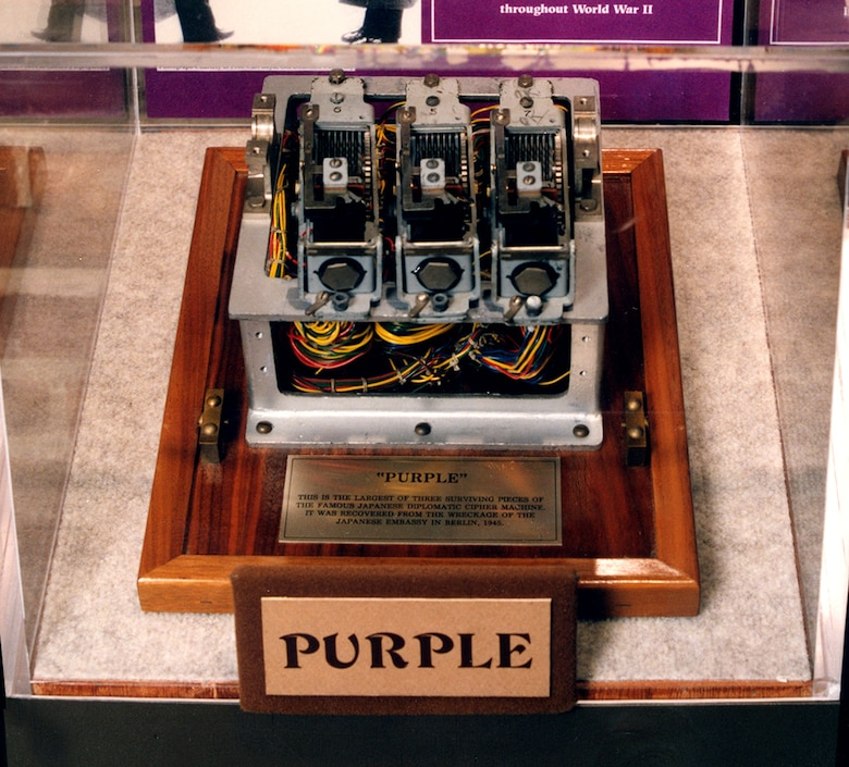 The Japanese PURPLE machine. At the end of World War II, the Japanese destroyed nearly all of their code machines, and very few parts exist today. This fragment is on display at the National Cryptologic Museum in Washington, D.C. (Photo courtesy of National Cryptologic Museum, NSA)