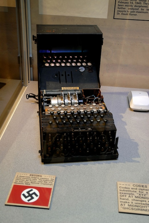 DAYTON, Ohio -- A three-rotor Enigma machine used by the Luftwaffe is on display with the cryptology exhibit in the World War II Gallery at the National Museum of the United States Air Force. (U.S. Air Force photo)
