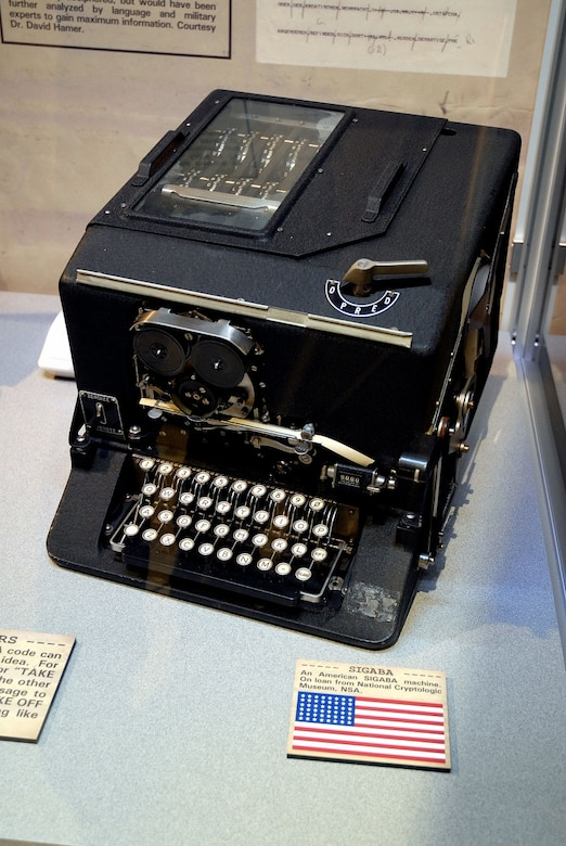DAYTON, Ohio -- American SIGABA machine on display with the cryptology in exhibit in the World War II Gallery at the National Museum of the United States Air Force. (U.S. Air Force photo)