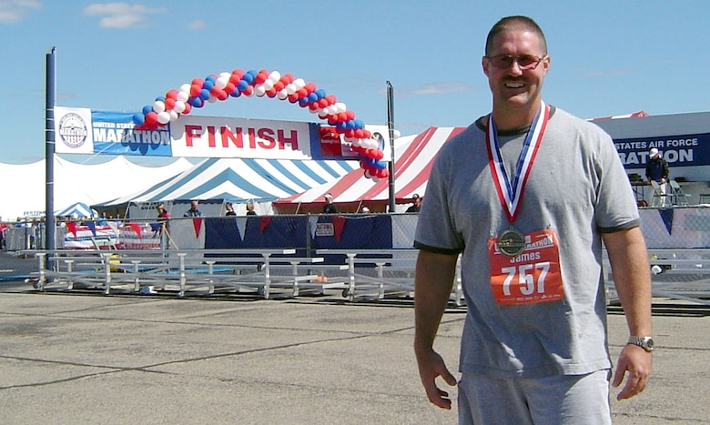 Master Sgt. Jimmy Jackson, 341st Logistics Readiness Squadron first sergeant, is all smiles after completing the 26.2-mile Air Force Marathon at Wright-Patterson Air Force Base, Ohio, Sept. 15. (Courtesy Photo)