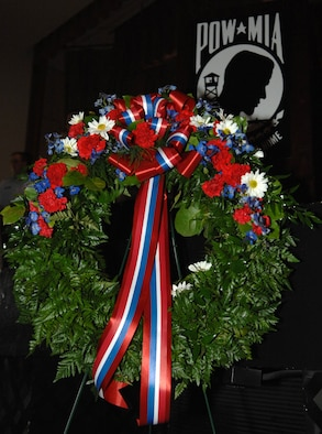 Placing of a memorial wreath is an important part of the POW/MIA day. It is a tradition of showing honor to those military service men and women who have died in service to their country. (US Air Force Photo by Airman 1st Class Nadine Y. Barclay)