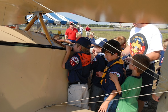 DAYTON, Ohio -- A group of Boy Scouts get a closer look inside one of the aircraft during the 2007 Dawn Patrol Rendezvous World War I Fly-In at the National Museum of the United States Air Force. (U.S. Air Force photo)