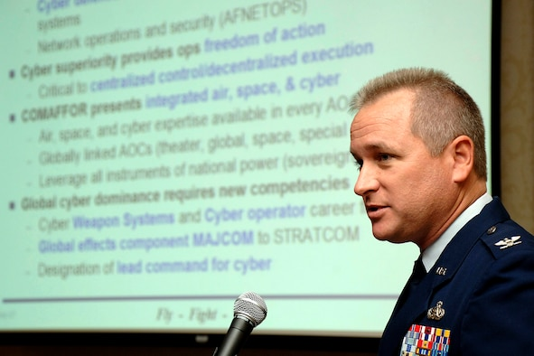 Col. Tony Buntyn addressed the Fifth Annual Net-Centric Operations Conference Sept. 24 in New Castle, N.H., focusing on the importance of controlling cyberspace.  Colonel Buntyn is the director of 8th Air Force's Global Cyberspace Air Operations Center at Barksdale Air Force Base, La.  (U.S. Air Force courtesy photo)