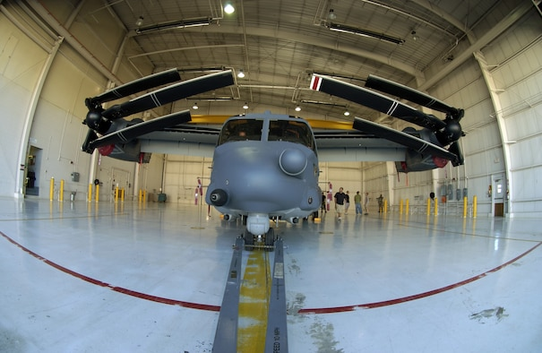 CANNON AIR FORCE BASE, N.M. -- A CV-22 Osprey with its rotors folded sits in a hangar at Cannon AFB, N.M., during a hangar clearance test on Sept. 25, 2007.  Cannon AFB will be transferred from Air Combat Command to Air Force Special Operations Command on Oct. 1.  Ospreys are among the special operations aircraft to be assigned to the 27th Special Operations Wing at Cannon.  (Air Force photo by Greg Allen)