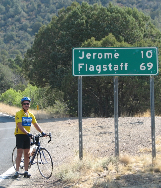 Retired Maj. Dale Weaver stops to rest before tackling the mountainous terrain south of Flagstaff, Ariz. July 8 during his bicycle journey across the United States. Mr. Weaver completed the cross-country journey in 45 days. (Courtesy photo/Lauren Weaver)