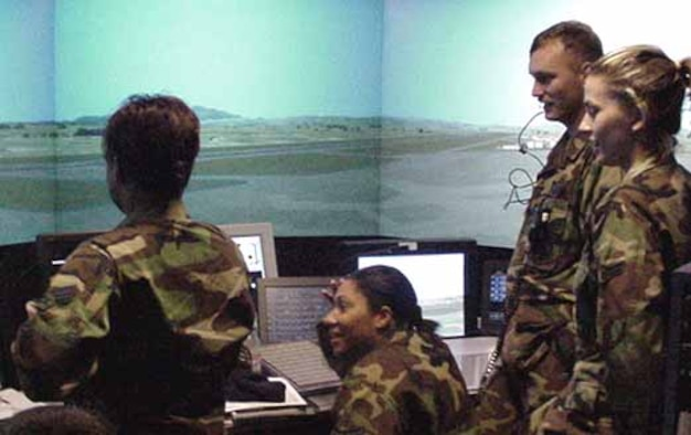 Airmen with the Air force Flight Standards Agency run through their responsibilities in the Air Traffic Control Simulator. (Photo courtesy of the Air Force Flight Standards Agency Headquarters)