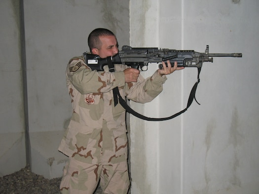 Staff Sgt. Richard Prebula conducts perimeter security at Balad Air Base, Iraq.  Sergeant Prebula is a member of the 332nd Expeditionary Services Squadron Personnel Support for Contingency Operations or PERSCO and deployed from the 18th Mission Support Squadron at Kadena Air Base, Japan.  (courtesy photo)