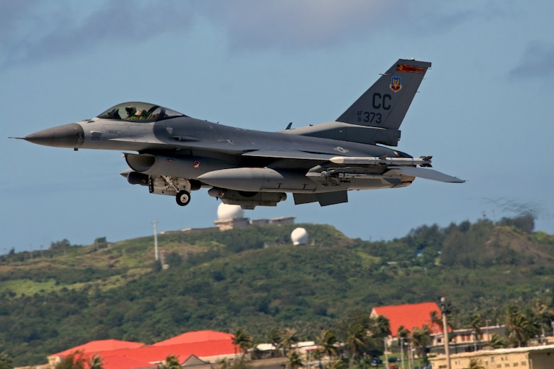 An F-16 Fighting Falcon from the 522 EFS, the Fireballs, takes off from Andersen Air Force Base, Guam. This is the last deployment for the Fireballs as well as their home station of the 27th Fighter Wing at Cannon Air Force Base. The Fireballs began their history in the skies over the Pacific Ocean during World War II and have come full circle by having their final deployment in the same area. The Fireballs will be inactivated after their return to home station. (Air Force photo/Senior Master Sgt. Mahmoud Rasouliyan)