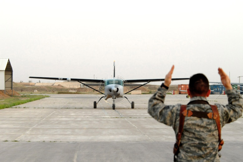 The Iraqi air force's newest Cessna 208 Caravan lands at the Iraqi Flying Training Wing for the first-time March 29 at Kirkuk Air Base, Iraq. The Cessna 208 is the most advanced fixed wing training aircraft for the Iraqi Flying Training Wing. Iraqi students spend approximately six months learning to fly the Cessna 208 and receive pilot wings upon completion of the training syllabus. They then move onto the Iraqi air force's operational aircraft which includes the C-208, King Air, C-130 Hercules or SAMA (Zenair) CH-2000. The Iraqi Air Force Flying Training Wing inventory will have a total of five Cessna 208s by the end of 2008. (U.S. Air Force/Senior Master Sgt. Don Senger)