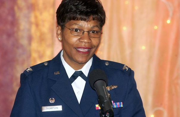 Col. Angela Thompson, 435th Medical Group commander and guest speaker, talks about inspiring others at the U.S. Army Garrison Kaiserslautern's 2008 Women's History Month observance March 28 at the Armstrong Community Club on Vogelweh Housing. Photo by Christine June