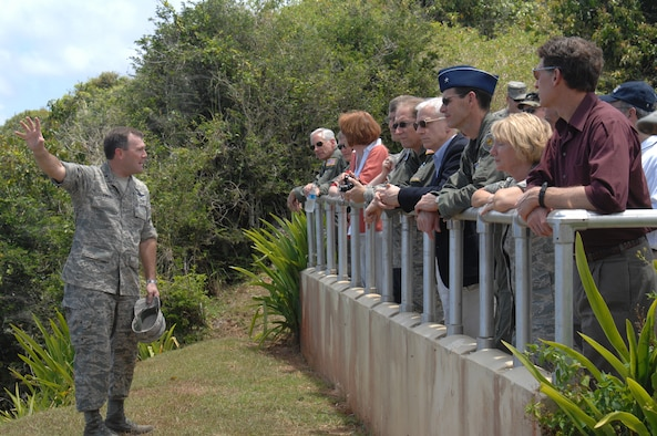 ANDERSEN AIR FORCE BASE, Guam - Brig. Gen. Douglas Owens, 36th Wing commander, gives a brief tour of the Tarague Overlook to members of the Air Force Board. The Air Force Board arrived on Andersen April 4 to tour several facilities, construction sites and flight line projects underway in need of funding. (U.S. Air Force photo by Senior Airman Sonya Croston)