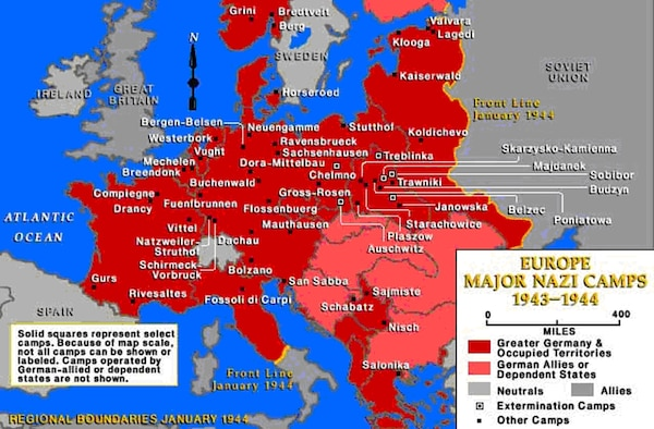 This shows the location of the major Nazi camps established between 1941 and 1943 .