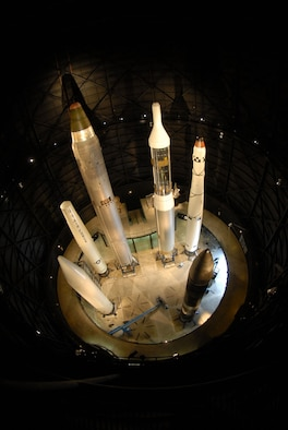 DAYTON, Ohio (04/2008) - The Peacekeeper missile (bottom right corner) is the most recent missile added to the Missile & Space Gallery at the National Museum of the U.S. Air Force. (U.S. Air Force photo)