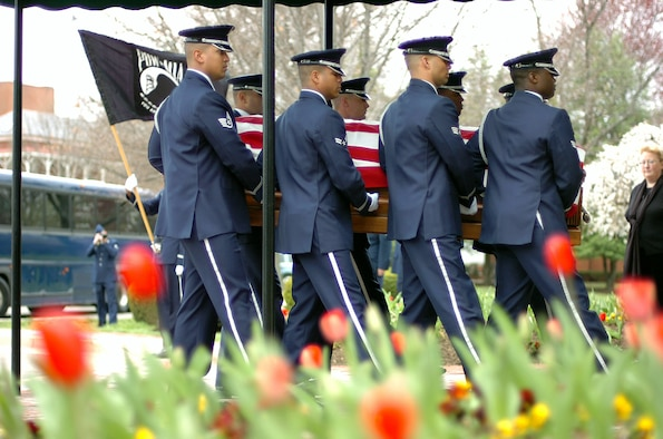 Members of the U.S. Air Force Honor Guard carry the casket of Maj. Perry Jefferson into the Old Chapel on Fort Myer, Va., April 3. Major Jefferson was returned 39 years after he went missing in action in Vietnam. (U.S. Air Force photo/Tech. Sgt. Mike R. Smith)