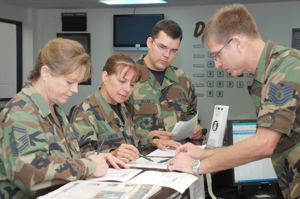 PATRICK AIR FORCE BASE, Fla. - Air Force Reservists (From left) Senior Master Sgt. Donna Wenzel, Chief Master Sgt. Dorlen Martin, Tech. Sgt. Christopher Millar and Tech. Sgt. Frank Smith, 920th Aeromedical Staging Squadron, review patient check-in lists at the base clinic. A new 920th Rescue Wing clinic schedule offers physicals every-other drill weekend. Profiles, warfit, immunizations and follow-ups are offered every Sunday of each drill weekend. Being healthy is a vital part of being war-ready.  Air Force Reservists serve on the frontlines and on the leading edge of technology in air, space and cyberspace, providing the Air Force a warfighting capability that is the best in the world. (U.S. Air Force Photo/Staff Sgt. Heather L. Kelly)