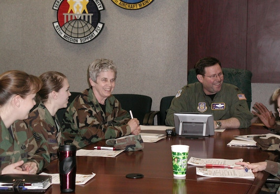 Lt. Col. Sue Lovas (center) shares a laugh with fellow members of the 931st Air Refueling Group's Human Resource Development Council.  Colonel Lovas is in charge of the 931st's Equal Opportunity Office, formerly known as Military Equal Opportunity.