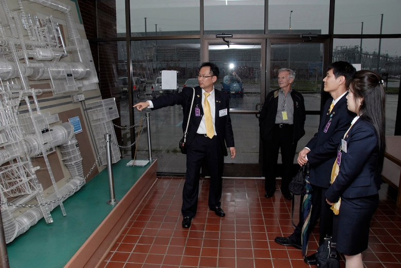 A South Korean Rotary International Group Study Exchange team visited Arnold engineering Development Center (AEDC) last week as part of their visit around local counties. The group is shown in AEDC's Propulsion Wind Tunnel Test Facility. (Photo by Rick Goodfriend)