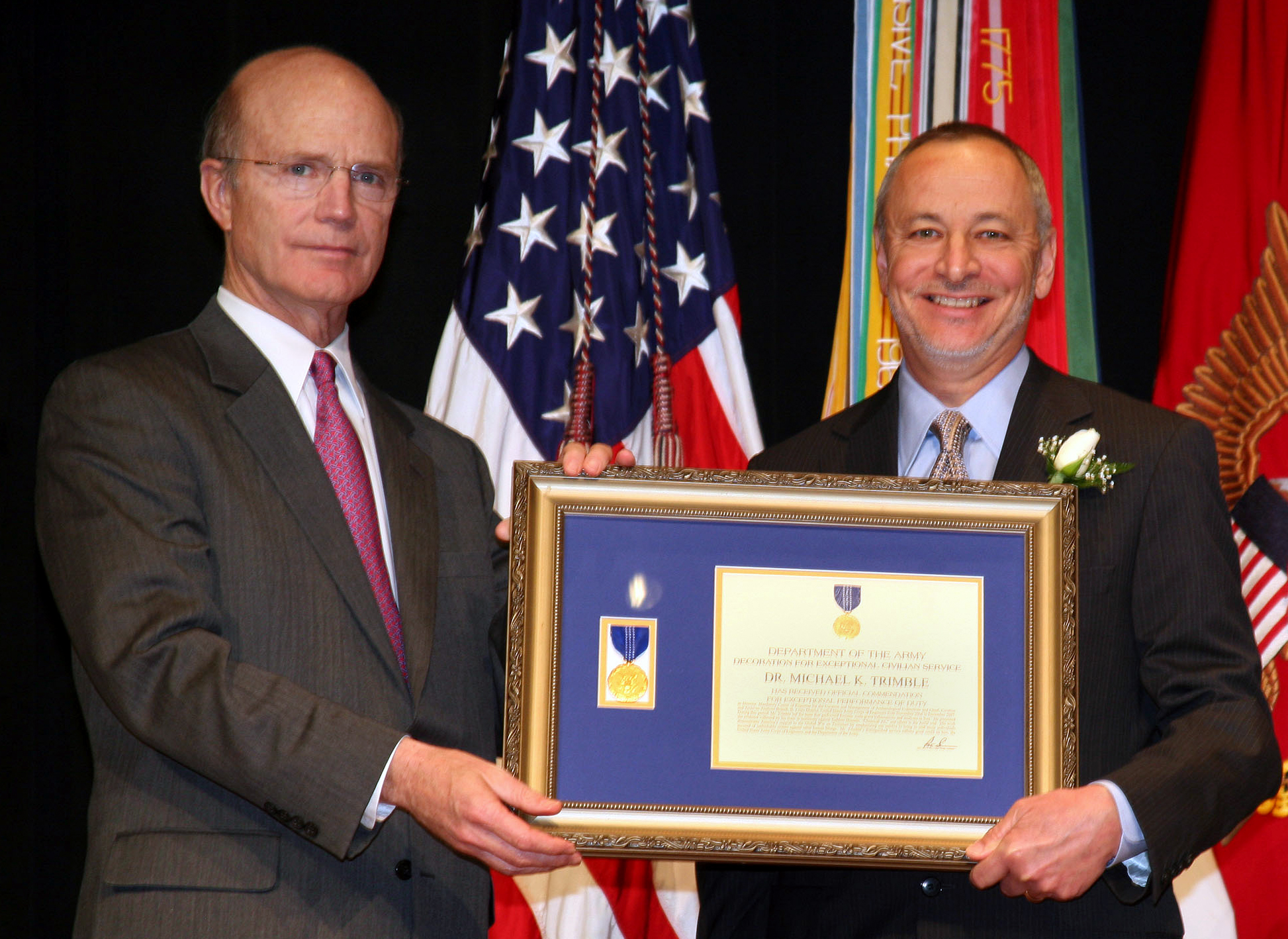 Dr Michael Sonny Trimble Right Receives The Army S Decoration