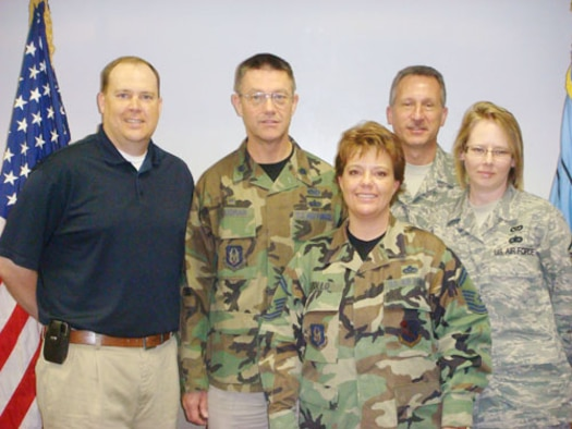 Five 507th Air Refueling Wing members were selected to receive Air Force Reserve Command Civil Engineer Awards for 2007. Pictured from left are Joseph Wade, Lt. Col. Ernest Goodman, Senior Master Sgt. Jodie Zollo, Chief Master Sgt. Gary Bourisaw and Master Sgt. Wendy Ellyson.  Not pictured, Tech. Sgt. Deric Nixon.