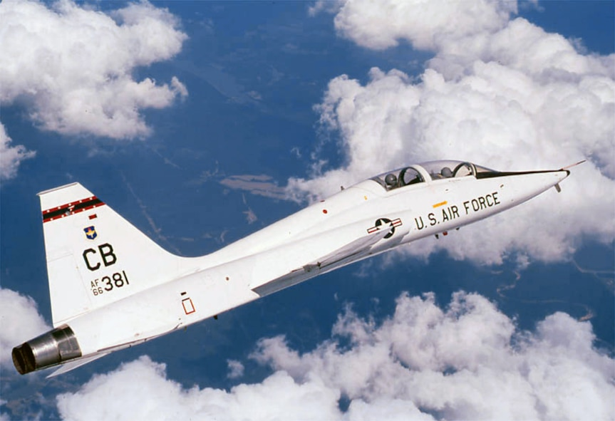 The T-38 Talon is a twin-engine, high-altitude, supersonic jet trainer used in a variety of roles because of its design, economy of operations, ease of maintenance, high performance and exceptional safety record. It is used primarily by Air Education and Training Command for undergraduate pilot and pilot instructor training. Air Combat Command, Air Mobility Command and the National Aeronautics and Space Administration also use the T-38 in various roles. (U.S. Air Force photo/Staff Sgt. Steve Thurow)