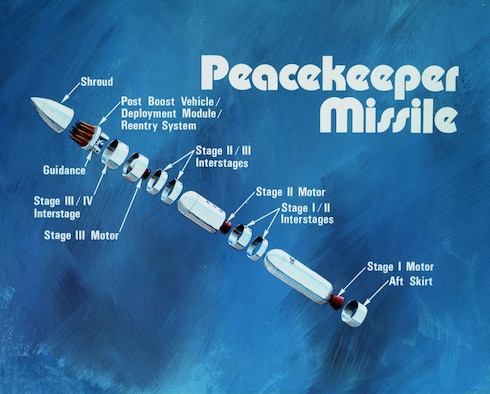 Illustration from the 1980s showing the elements of a Peacekeeper missile. (U.S. Air Force photo)
