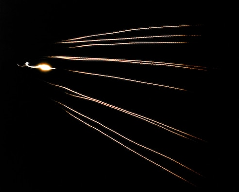 The MIRV warhead of the Peacekeeper made it a very powerful weapon. This timed exposure shows 10 MK-21 re-entry vehicles approaching an open-ocean impact zone near Kwajalein Atoll during a flight test. (U.S. Air Force photo)