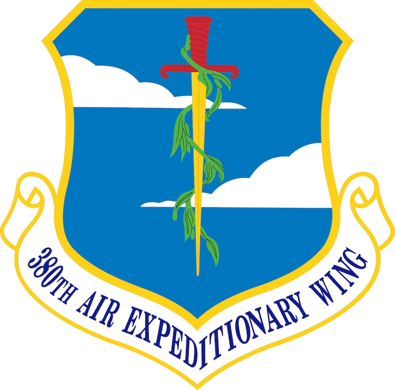 380th Air Expeditionary Wing (Color). Image provided by the Air Force Historical Research Agency. In accordance with Chapter 3 of AFI 84-105, commercial reproduction of this emblem is NOT permitted without the permission of the proponent organizational/unit commander. The image is 7x7 inches @ 300 ppi.