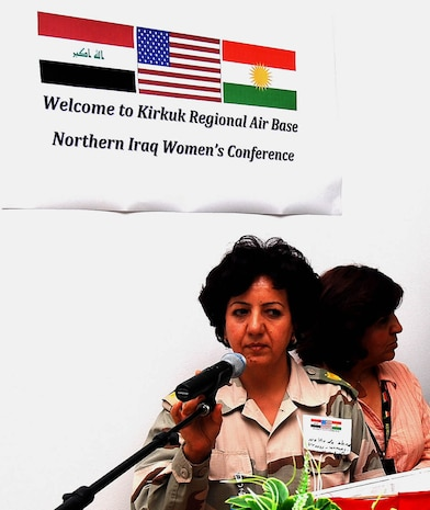 """We are not that different,"" Maj. Naheda Ahmed, 42, commander of a women's Peshmerga Infantry Regiment in Sulayminiyah said, at the Inaugural Northern Iraq Women's Conference, April 20 at Forward Operating Base Warrior, Kirkuk, Iraq. ""It is important to start a dialogue about women's issues effecting women in Iraq with our American counterparts…we are their voices."" (U.S. Army photo by Staff Sgt. Margaret C. Nelson)"