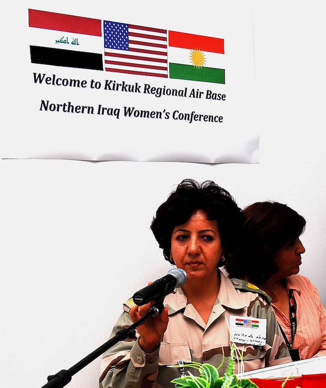 """""""We are not that different,"""" Maj. Naheda Ahmed, 42, commander of a women's Peshmerga Infantry Regiment in Sulayminiyah said, at the Inaugural Northern Iraq Women's Conference, April 20 at Forward Operating Base Warrior, Kirkuk, Iraq. """"It is important to start a dialogue about women's issues effecting women in Iraq with our American counterparts…we are their voices."""" (U.S. Army photo by Staff Sgt. Margaret C. Nelson)"""