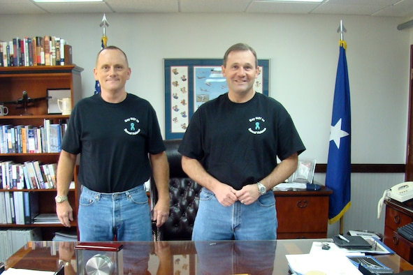 Leadership of the 36th Wing, Brig. Gen. Owens, 36th Wing Commander and Col. Gregory Cain 36th Wing Vice Commander supported Denim Day Apr. 25 by wearing the Denim Day t-shirt on sale throughout the month of April. (Courtesy photo by Shari Freeman)