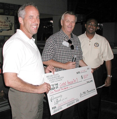 Brevard County Florida Civilian-Military (CivMil) Council boardmembers, Mr. David Spain and Mr. Kendall Moore (middle and right), presented a check for $1,500 to 920th Rescue Wing Commander, Col. Steve Kirkpatrick (left), April 24 for Rescue Wing Reservists who were deployed in support of Operation Iraqi Freedom. Twelve of the Air Force Reservists arrived home safely after completing a six-month deployment to Kirkuk Air Base, Iraq.  The reservists originally deployed with 13 Airmen, but one team member, Senior Airman Diane Lopes, was severely wounded during a September mortar attack and evacuated to Walter Reed Army Medical Center, Md. where she continues to undergo physical therapy for her injuries.  Airman Lopes sent a video message to her fellow Airmen here to watch while they enjoy a welcome-home celebration at a restaurant local to Patrick Air Force base with their families.
