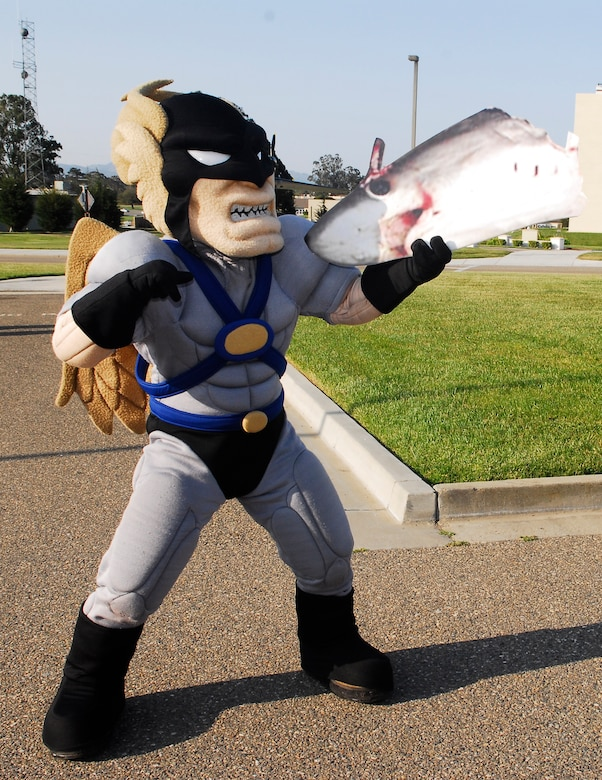 "VANDENBERG AIR FORCE BASE, Calif. --  Hawkman ""has a chat"" with his arch-nemisis, The Shark. Hawkman will accompany the Guardian Challenge team to the score posting May 7-10 at Peterson Air Force Base, Colo. (U.S. Air Force photo/Airman 1st Class Ashley Reed)"