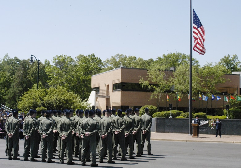 Members of the 43rd Flying Training Squadron, 50th Flying Training Squadron and Specialized Undergraduate Pilot Training 08-14 stand in formation at the memorial service Tuesday. (U.S. Air Force photo Airman Josh Harbin)