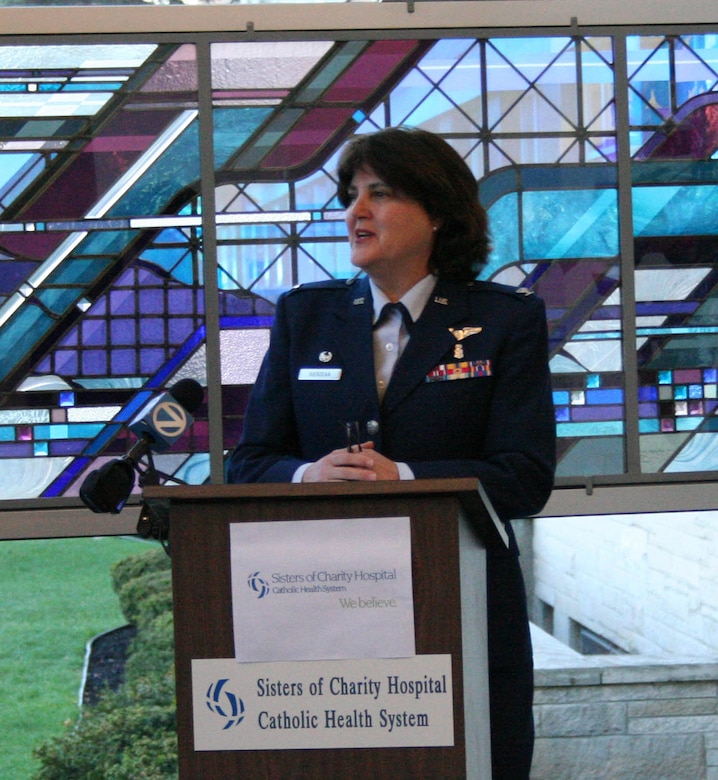 BUFFALO, NY-- Col. Renata Sierzega, commander of the 914th Aeromedical Staging Squadron (ASTS), formally announces the new training agreement between Sisters of Charity Hospital, Buffalo, NY and the 914 ASTS, Niagara Falls Air Reserve Station, NY.  Air Force Reserve medical personnel will receive dynamic nursing, medical and pharmacy technician, and nutritional medical experience in Buffalo's first Hospital.