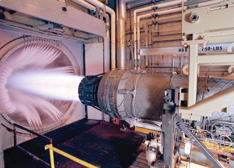 This Pratt & Whitney F100 engine, the powerplant for the F-15 Eagle and F-16 Fighting Falcon, underwent sea level testing in Arnold Engineering Development Center's Propulsion Development Test Cell SL-2 in 2003. (AEDC photo)