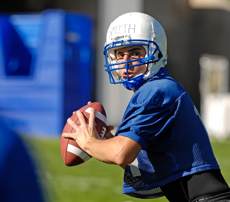 Quarterback Cadet 1st Class Shea Smith looks downfield for a receiver as the Falcons practice in preseason camp July 31 at the U.S. Air Force Academy in Colorado. (U.S. Air Force photo/Mike Kaplan)