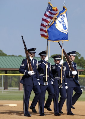 The 601st Air and Space Operations Center Honor Guard presented the colors during the opening ceremony of this years 43rd Annual Air National Guard Softball Tournament being held at Frank Brown Park, Panama City Beach. (Air Force photo by 1st Lt Jared Scott)