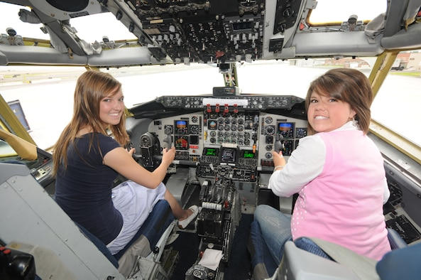 """Jocelyn Schulz (left), a senior at Park City High School, and Ali Washburn, a senior at Timpangogos High School, tour a KC-135 Stratotanker at the Utah Air National Guard Base on Aug. 6 during Freedom Academy 2008.  Freedom Academy is a week-long leadership camp designed for high school student body officers from schools throughout Utah.  It is hosted by members of the Utah Army and Air National Guard, and focuses on the theme of """"freedom.""""  (USAF photo by Tech Sgt. Mike Evans)"""