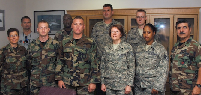 Airmen who joined the 931st Air Refueling Group during the August Unit Training Assembly attended an orientation on Aug. 9.  The Group welcomed, from left to right: (front row) Master Sgt. Cynthia Schlitz, Staff Sgt. Brandon Blodgett, Staff Sgt. Joel Janssen, Staff Sgt. Regina Rector, Staff Sgt. Cecelia Matthews, Maj. Celso Salinas, (back row) Senior Airman Kevin Becton, Capt. Kelvin Tuckett, Staff Sgt. Douglas Winterhalter, and Staff Sgt. Alan Pederson Jr.