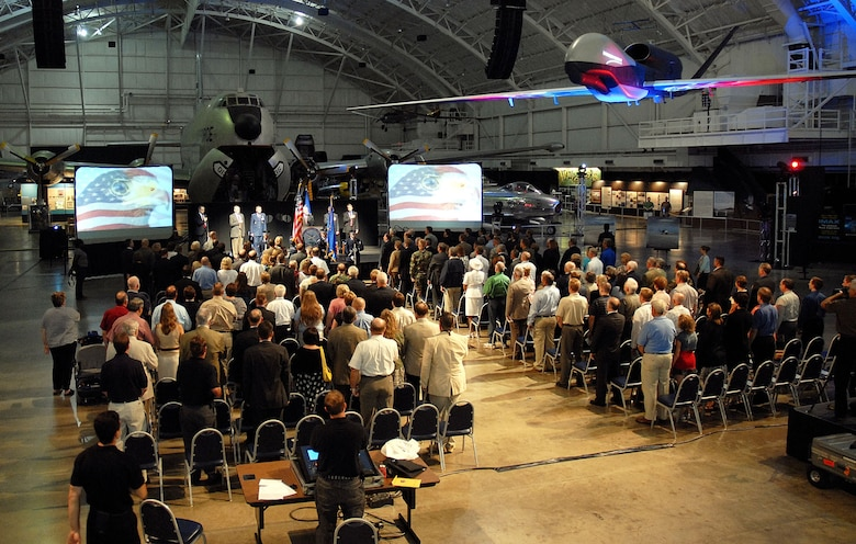 DAYTON, Ohio (08/2008) -- Air Force, Northrop Grumman and museum officials participate in the Global Hawk exhibit opening at the National Museum of the United States Air Force. (U.S. Air Force photo)