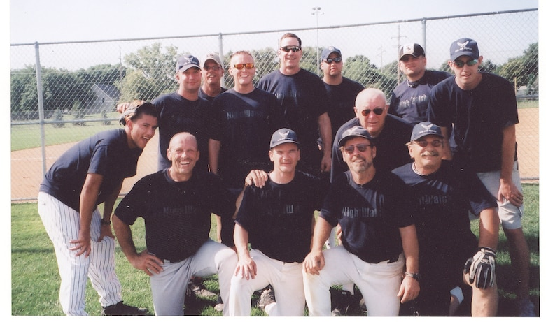 The Night Watch softball team from left to right: 