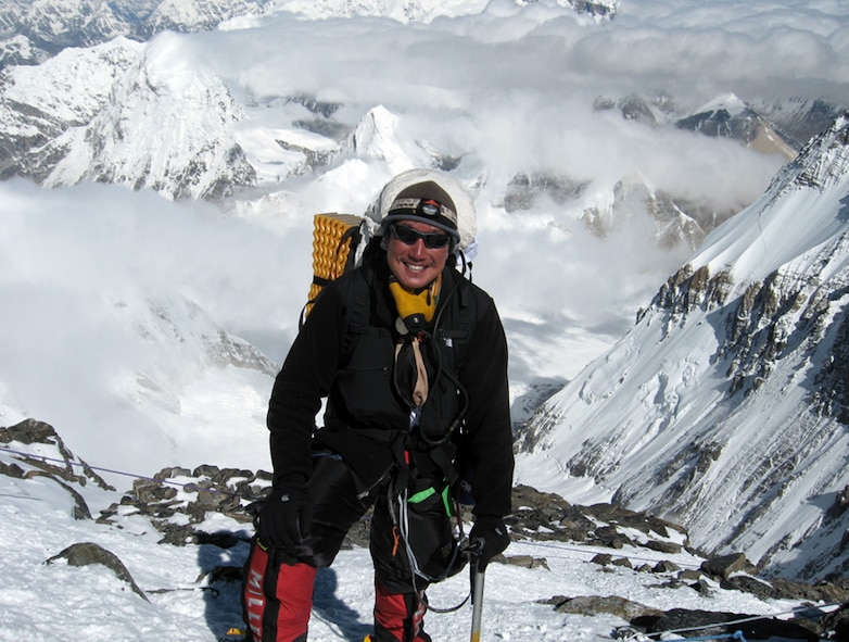 Navy Cmdr. Michael Hsu, U.S. Air Force Test Pilot School instructor, poses for a photo at 25,600 feet while ascending Mount Everest during May 2007. Commander Hsu climbed the tallest mountains on all seven continents, including Kilimanjaro, Aconcagua, McKinley, Everest, Kosciuszko, Vinson and Elbrus. (Courtesy photo)