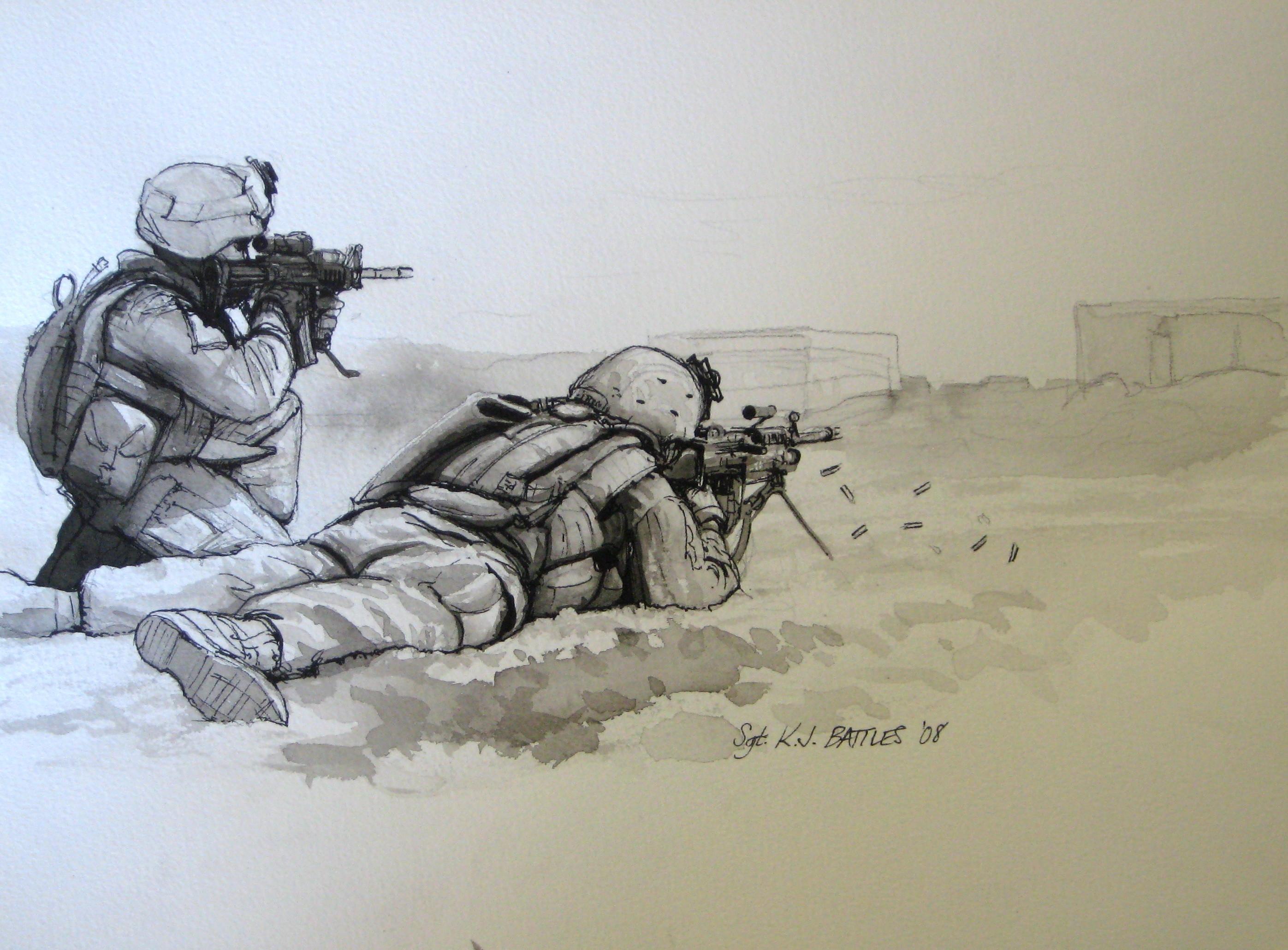 Combat Artists Paint Reserve Battalions Portrait Marine Corps
