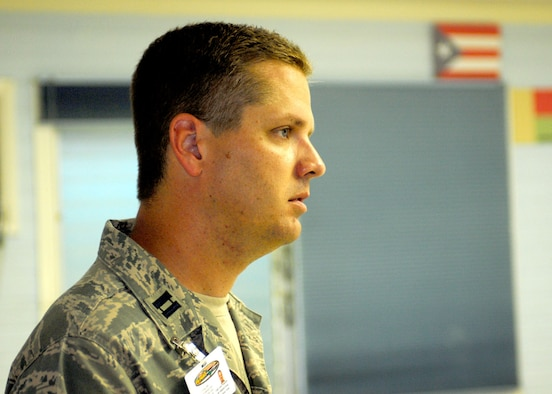 Chaplain Paul Ferguson Jr. of the Texas Air National Guard looks on at the Bobby Benson Center in Kahuku, Hawaii.  He addressed patients at the center on the importance of a drug free life.  Ferguson is part of a 51 person group of physicians, nurses and support personnel from the 149th Fighter Wing Medical Group at Lackland AFB, Texas working with the Hawaii ANG in support of the E Malama Kakou (to care for all) humanitarian program serving the medically underprivileged in Hawaii.